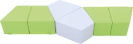 Set van 6 kleine zitjes 24cm hoog - Groen/grijs