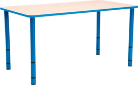 Rechthoekige Quint-tafel 115 x 65 met licht blauwe rand en in  40-58cm hoogte verstelbaar