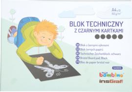 Technische tekenblok A4, zwart