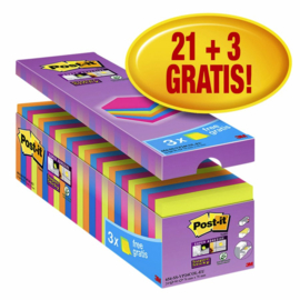 Memoblok 3M Post-it Super Sticky 76x76 mm. assorti