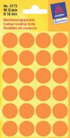 Etiket Avery Zweckform 3173 rond 18mm lichtoranje 96stuks