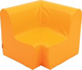 Middelhoge hoekbank zithoogte 26cm - oranje