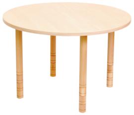 Ronde tafel met een dik tafelblad