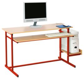 Computerbureau NEO 2, dubbel, met vaste toetsenbordlade - rood