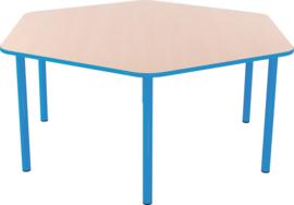 Zeshoekige Quint-tafel 128 cm met licht blauwe rand 40-58cm