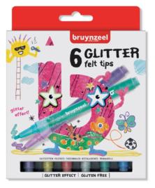 Viltstift Bruynzeel Kids glitter - 6 stuks assorti