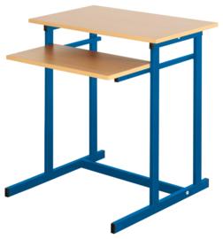 Computerbureau NEO 1, enkel, met vaste toetsenbordlade -  blauw