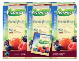 3x25 stuks Thee Pickwick Fair Trade bosvruchten 25 zakjes van 1.5gr