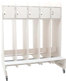Dubbelzijdige garderobe op wielen 2 x 5 personen - gebleekt multiplex