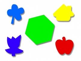 Plakfiguren zeskant, appel, huis en bloem 2x