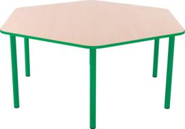 Zeshoekige Quint-tafel 128 cm met groene rand 40-58cm