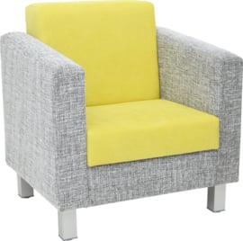 Relax fauteuil grijs/groen - vierkante poten