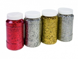 Glitter in grote pot