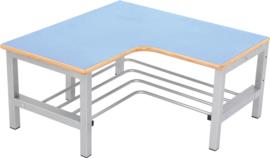 Flexi garderobe hoekbank 4, zithoogte 26 cm., lichtblauw