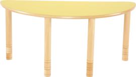 Halfronde Flexi tafel 120x60cm geel 58-76cm hoogte verstelbaar