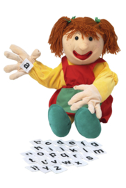 Handvertelpop Samantha met alfabet 70 cm