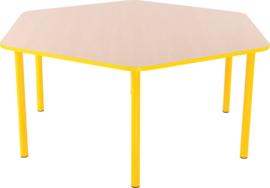 Zeshoekige Quint-tafel 128 cm met gele rand 40-58cm