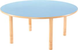 Ronde Flexi tafel 120cm blauw in hoogte verstelbaar