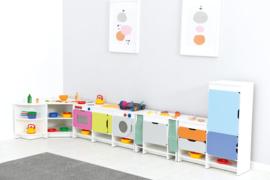 Keuken Quadro - Set met een koelkast, wit