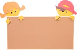 Applicatie met jongen en meisje voor kurkbord 100 x 200 cm