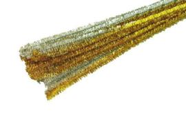Chenilledraad 50 cm. goud of zilver
