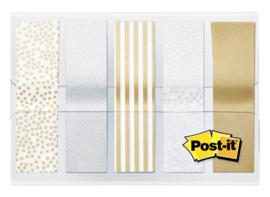 Indextabs 3M Post-it 684 12mmx43mm metallic motief goud zilver
