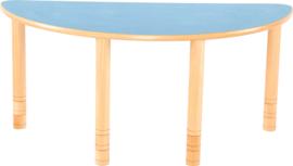 Halfronde Flexi tafel 120x60cm blauw in hoogte verstelbaar