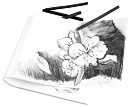 Kleur-potloden/krijt/verf, kwasten, stempels en sjablonen