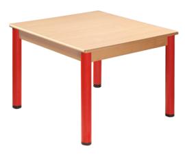 Tafel beuken/metaal 80 x 80 cm.  40-76 cm.