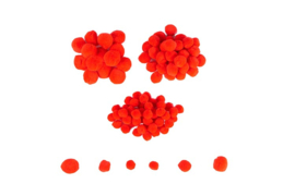 Pompons rood 20-25-30 mm 100 stuks