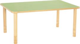 Rechthoekige Flexi tafel 120x80cm groen 58-76cm hoogte verstelbaar