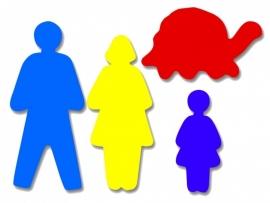 Plakfiguren jumbo vader, moeder, kind, schildpad