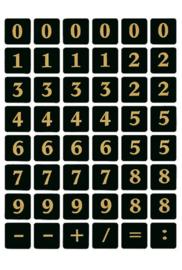 Etiket Herma 4131 13x13Mm getallen 0-9 zwart op goud
