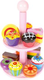 Muffins - een houten set met plateau