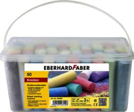 Stoepkrijt Eberhard Faber emmer 50 stuks assorti