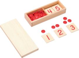 Houten kaarten met getallen