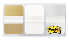 Indextabs 3M Post-it 686 25.4mmx38mm goud, wit en zilver