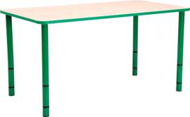 Rechthoekige Quint-tafel 115 x 65 met groene rand en in  40-58cm hoogte verstelbaar
