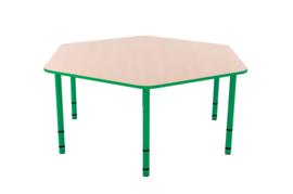 Zeshoekige Quint-tafel 128 cm met groene rand en in  40-58cm hoogte verstelbaar
