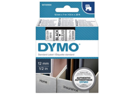 Labeltape Dymo 45010 D1 720500 12mmx7m zwart op transparant