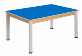 Beukenhouten tafel 120 x 80 cm. verstelbare metalen poten