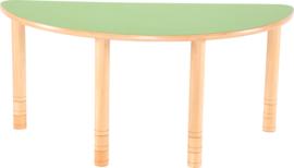 Halfronde Flexi tafel 120x60cm groen in hoogte verstelbaar