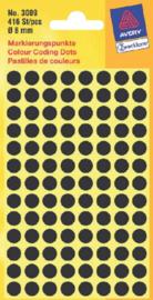 Etiket Avery Zweckform 3009 rond 8mm zwart 416stuks