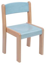 Houten stapelstoel licht blauw