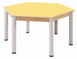 Beukenhouten tafel hexagonaal 120 cm. verstelbare metalen poten