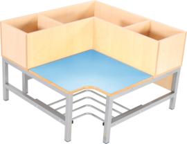 Flexi garderobe hoekbank 3, zithoogte 35 cm., lichtblauw