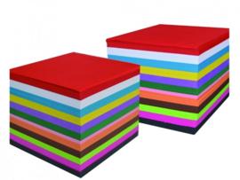 1000 vel Vouwbladen G1 60gr 20x20 10 kleuren  assorti.