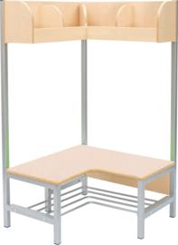 Flexi hoekgarderobe met frame 4, hoogte: 35 cm, berken,  vlamvertragend