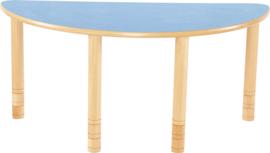 Halfronde Flexi tafel 120x60cm blauw 58-76cm hoogte verstelbaar
