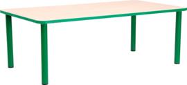 Rechthoekige Quint-tafel 115 x 65 cm met groene rand 40-58cm
